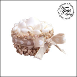 sier taartje rondje met schelpen wit